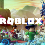 white roblox text over roblox scene in background